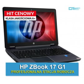 "HP ZBook 17 G1 i7-4930MX * 16 GB DDR3 * 128 GB SSD * K5100M 8GB * Ekran 17"" HD+ * Klasa A"